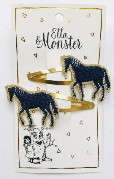 Ella & Monster Gold Horse Haarspangen