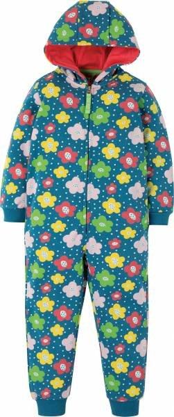 Frugi Big Snuggle Suit, Steely Blue Floral Spot
