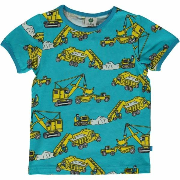 Smafolk T-shirt with Machines, Blue Atoll