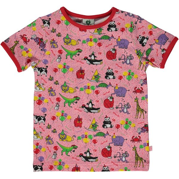 Smafolk T-Shirt with Birthday, Sea Pink