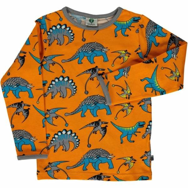 Smafolk T-Shirt LS Dinosaur Orange
