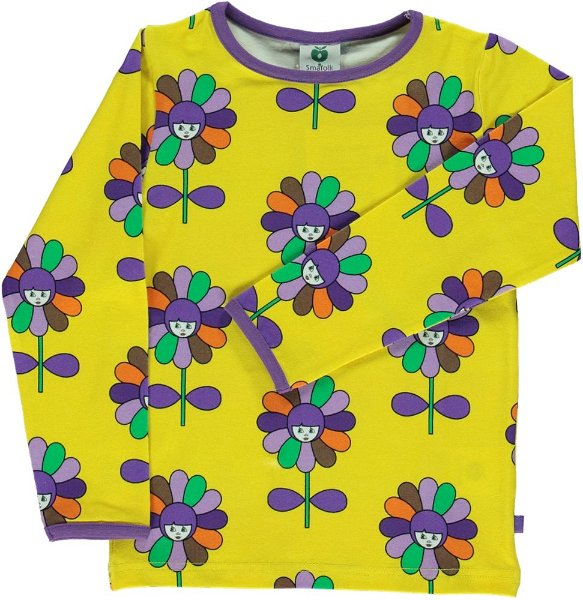 Smafolk T-Shirt LS with Flowers Yellow