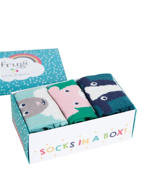 Frugi Paw-some Socks In A Box Festive Friends Multipack