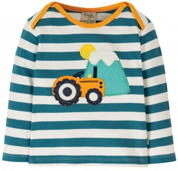 Frugi Bobby Applique Top Steely Blue Stripe Tractor