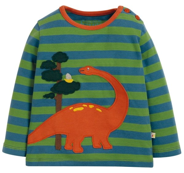 Frugi Wilf Wraparound Applique Top Meadow Stripe Dino