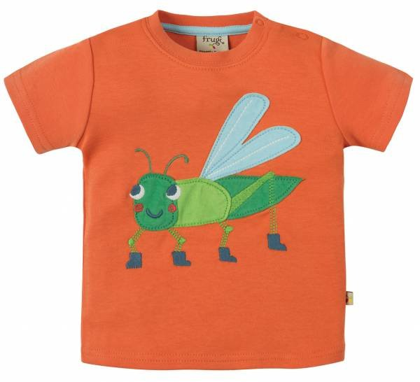 Frugi Little Creature Applique Warm Orange Grasshopper