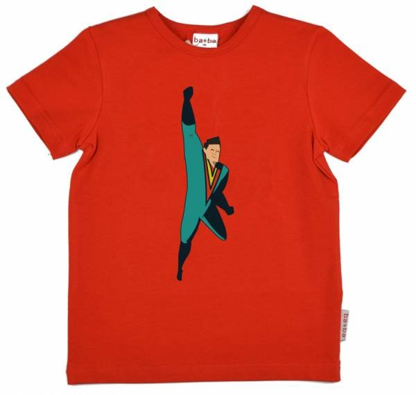 Baba Babywear T-Shirt Flying Hero Red