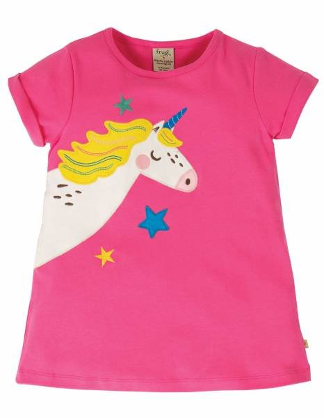 Frugi Lizzie Applique Top, Flamingo/Unicorn