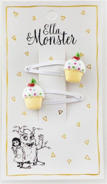 Ella & Monster Cupcake White Haarspangen