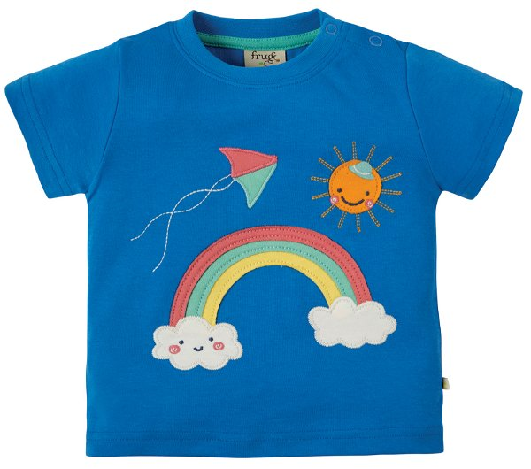 Frugi Little Creature Applique Top Sail Blue Rainbow