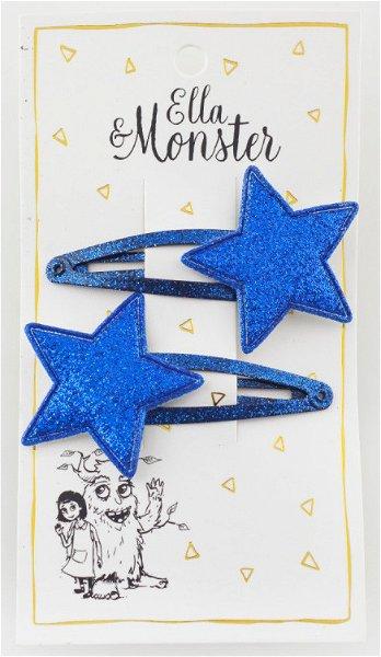 Ella & Monster Blue Glitter Star Haarspangen