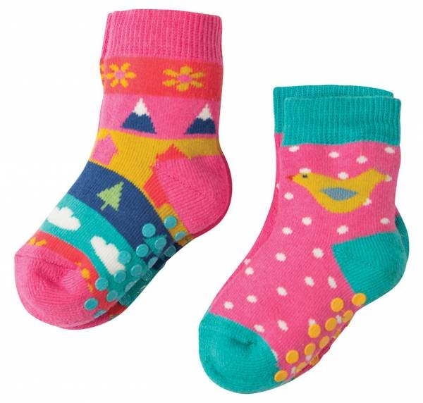 Frugi Grippy Socks 2 Pack Bird Multipack
