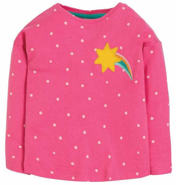 Frugi Bethany Boxy Top Flamingo Spot Star