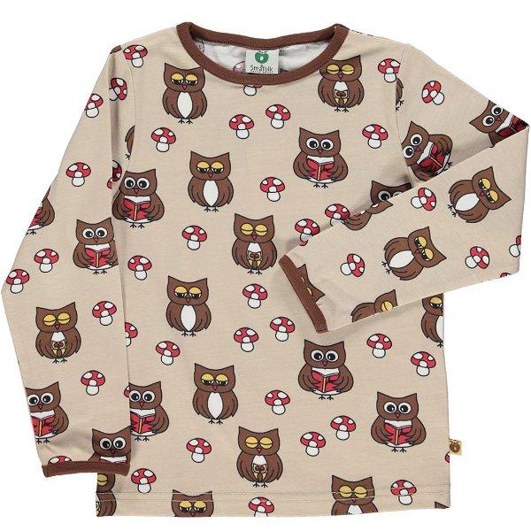 Smafolk T-Shirt with Owl Medium Sand
