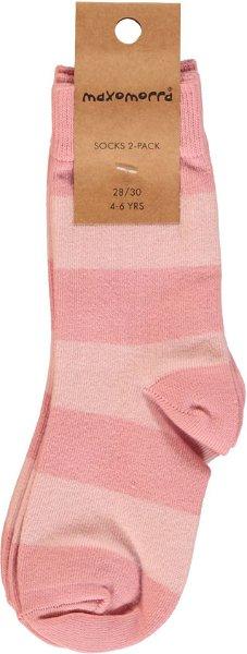 Maxomorra Socks 2-pack Stripe Dusty Rose