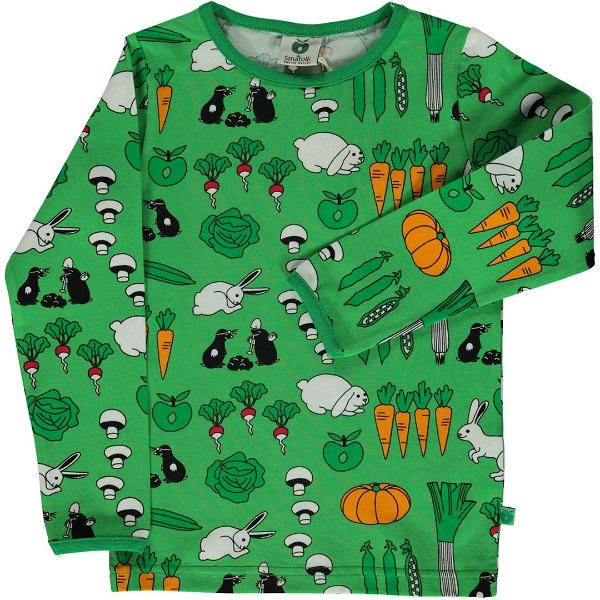 Smafolk T-Shirt LS Vegetables Green