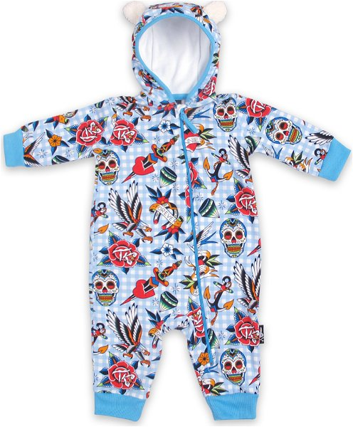Six Bunnies Baby Bodysuit (Hoody) Tattoo Blue