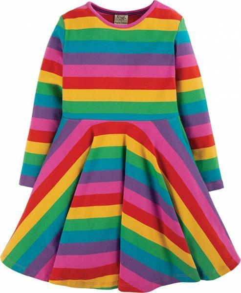 Frugi Sofia Skater Dress Foxglove Rainbow Stripe