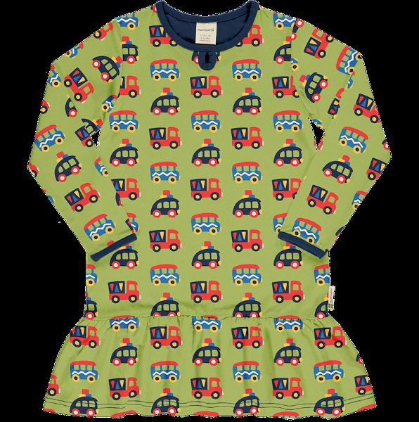 Maxomorra Dress Frill LS Colourful Cars