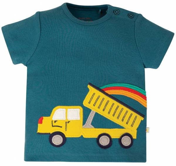 Frugi Scout Applique Top Steely Blue Truck