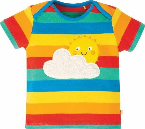 Frugi Bobster Applique Top, Rainbow Multi Stripe/Sun
