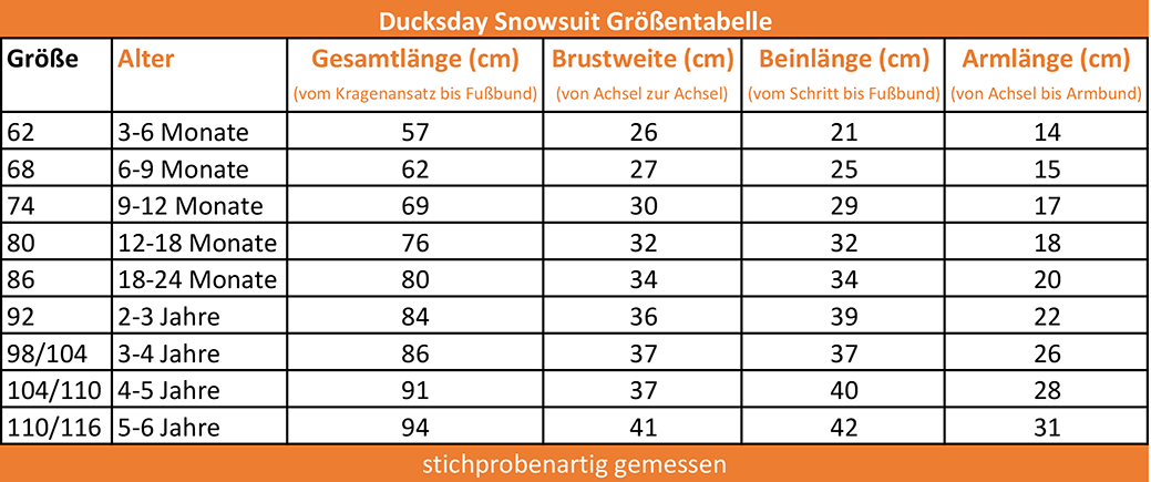 Ducksday_Groessentabelle_Snowsuits