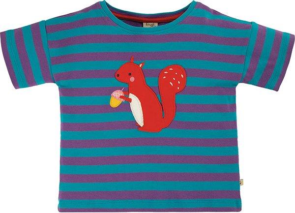 Frugi Myla T-Shirt Thistle Stripe Squirrel