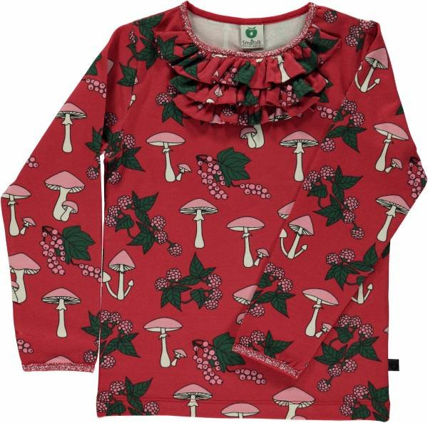 Smafolk T-Shirt LS Mushrooms Ruffles Dark Red