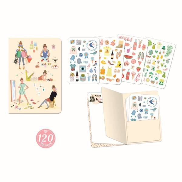 Djeco Notizbuch mit Stickern Tinou