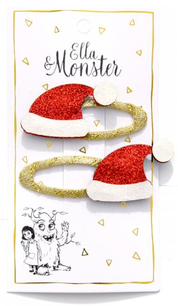 Ella & Monster Santa Claus Hat Haarspangen