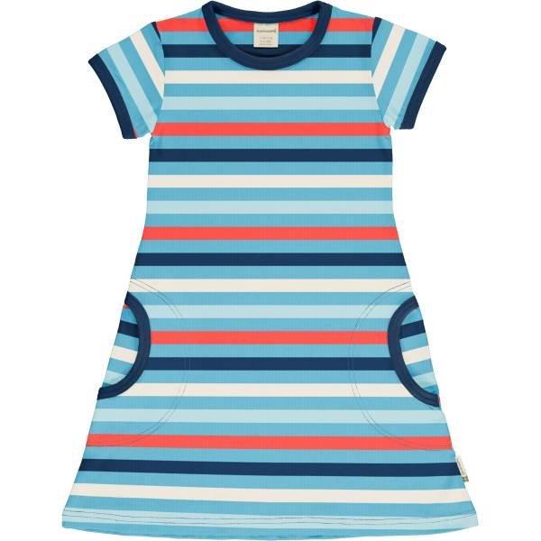Maxomorra Dress SS Stripe Sky