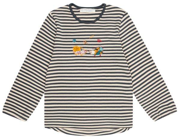 Sense Organics Naemi Shirt LS Navy Beige Stripes Hedgehog
