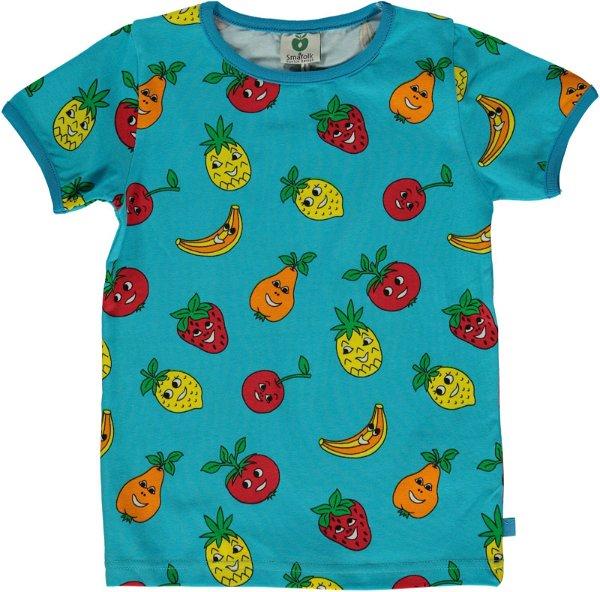 Smafolk T-Shirt with Fruits, Blue Atoll