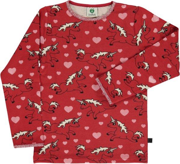 Smafolk T-Shirt LS Unicorn Dark Red