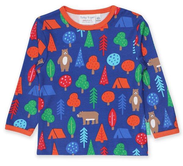 Toby tiger Organic Camping Bear Print LS-T-Shirt
