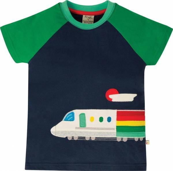 Frugi Rafe Raglan T-Shirt, Indigo/Train