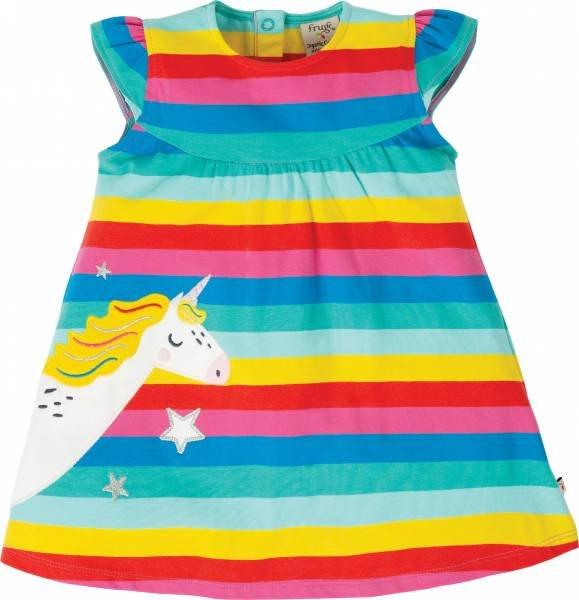 Frugi Little Lola Dress, Flamingo Multi Stripe/Unicorn