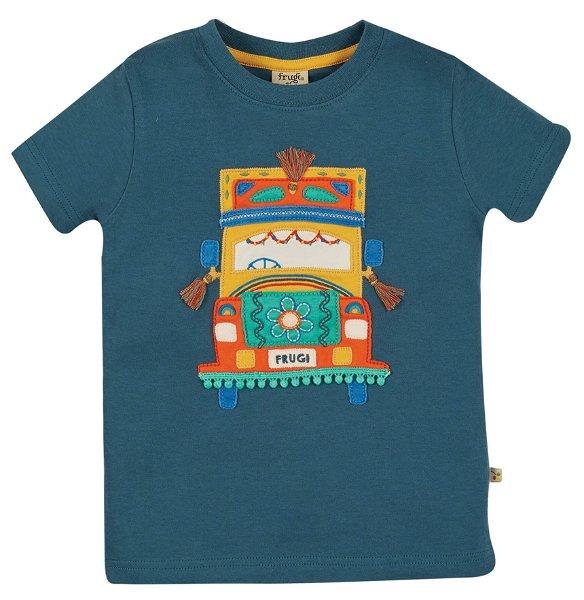 Frugi Carsen Applique T-Shirt India Ink Truck