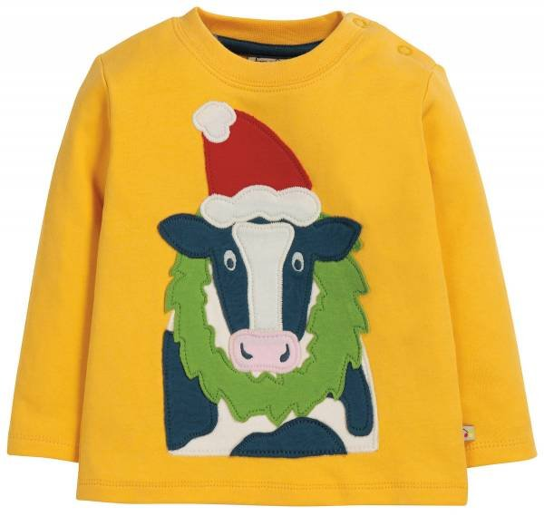 Frugi Little Discovery Applique Top Bumble Bee Cow