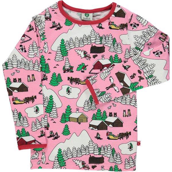 Smafolk T-Shirt with Winter Landscape Sea Pink