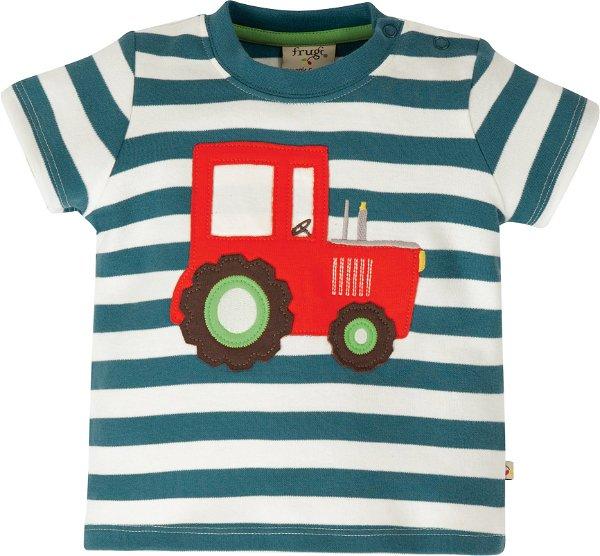Frugi Little Wheels Applique Top, Steely Blue Stripe/Tractor