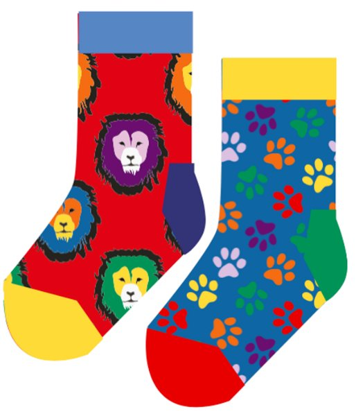Happy Socks Lion & Paw 2-Pack Kids Socks