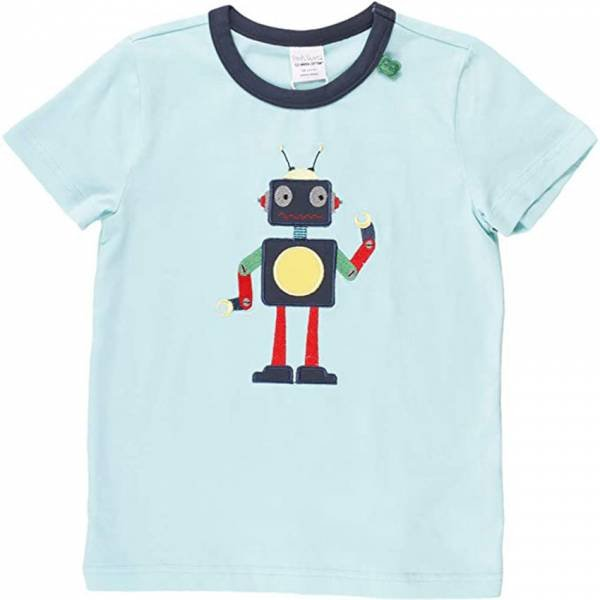 Fred`s World by Green Cotton Hello Robot T-Shirt, Aqua