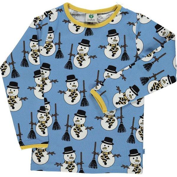 Smafolk T-Shirt with Snowman Winter Blue