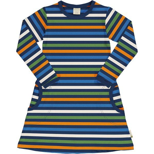 Maxomorra Dress LS Stripe Navy