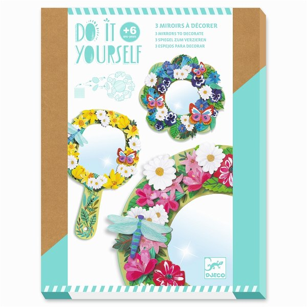 Djeco Do It Yourself - Spiegel zum Verzieren - Pretty Flowers