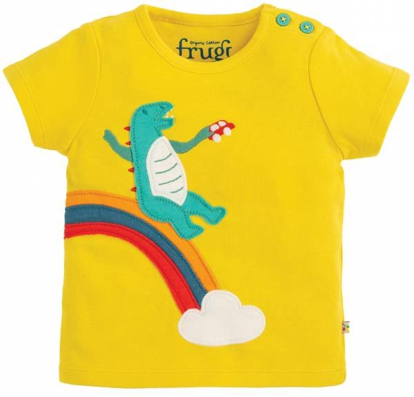 Frugi Scout Applique Top Sunflower Dino