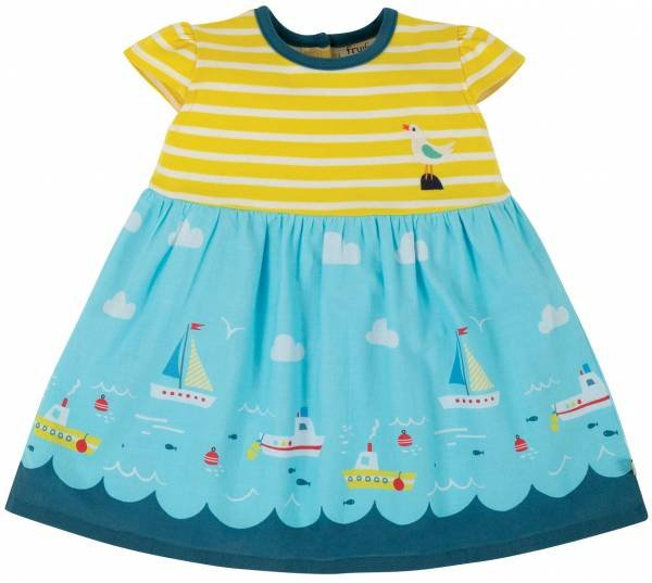 Frugi Demelza Dress Fresh Yellow Stripe Bird