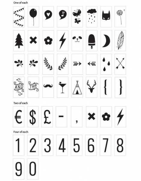 A Little Lovely Company Lightbox Symbol Set Numbers & Symbols