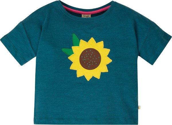 Frugi Myla T-Shirt, Steely Blue/Flower